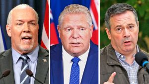 Premiers John Horgan, Doug Ford and Jason Kenney -Milenio Stadium-Canada