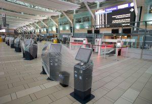 Check-in kiosks are covered in plastic -Milenio Stadium-Canada