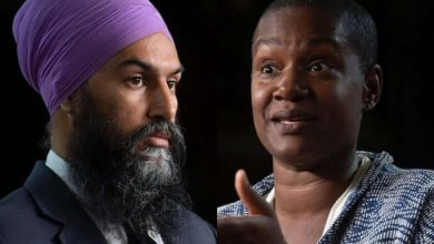 NDP Leader Jagmeet Singh, left, and Green Party Leader Annamie Paul, right-Milenio Stadium-Canada