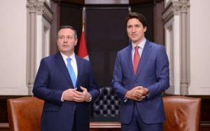 Prime Minister Justin Trudeau meets with Alberta Premier Jason Kenney in 2019-Milenio Stadium-Canada