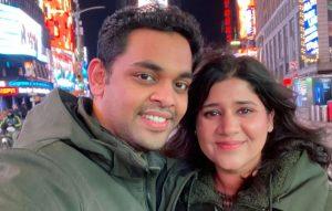 Vineeth Nair and his wife-Milenio Stadium-Canada