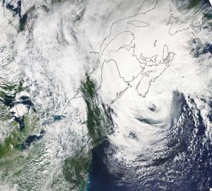 A NOAA satellite image showing the remnants of Hurricane Dorian-Milenio Stadium-Canada