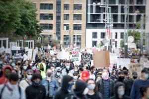 Protesters in Montreal-Milenio Stadium-Canada