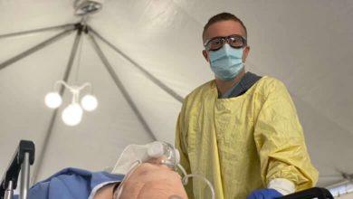 Hospital staff train in new ER tents to prepare for surge in non-COVID-19 patients-Milenio Stadium-Ontario