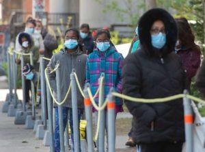 Line-up to a COVID-19 testing clinic-Milenio Stadium-Canada