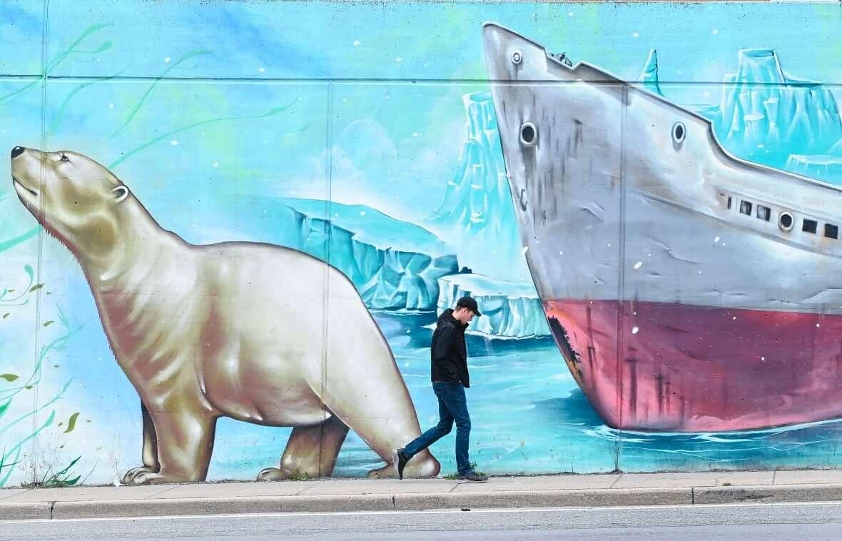 Climate change mural in Toronto-Milenio Stadium-Canada