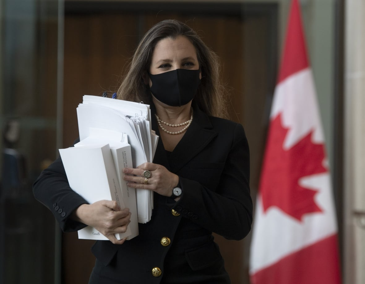 Freeland before delivering the federal budget-Milenio Stadium-Canada