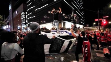Montreal police use tear gas to disperse Habs fans after series victory-Milenio Stadium-Canada