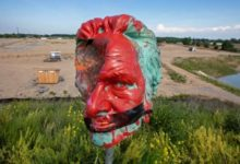 The head of the statue of Egerton Ryerson now on a spike at Land Back Lane in Caledonia, Ont-Milenio Stadium-Ontario