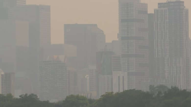 Forest fire smoke creates milky haze over Toronto-Milenio Stadium-Ontario