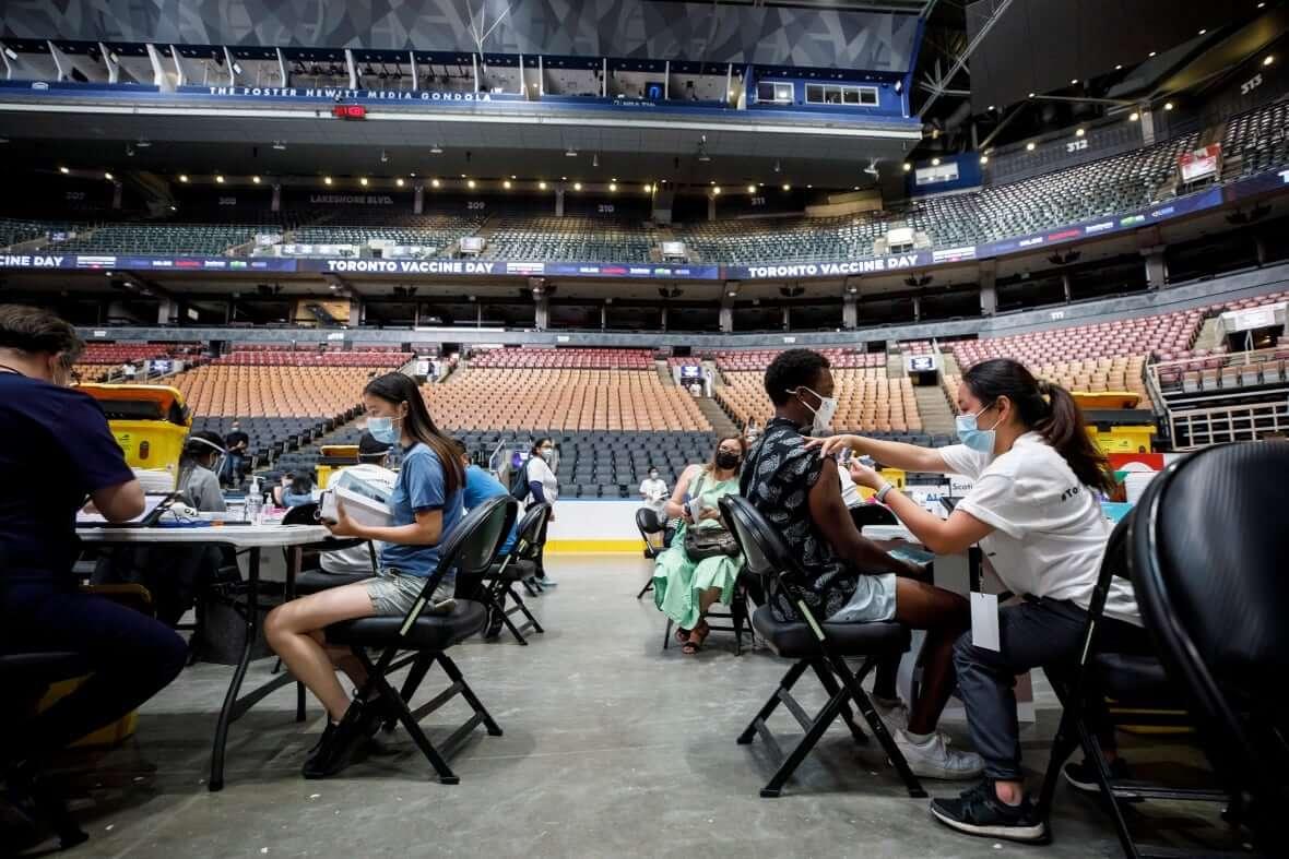 Mass vaccination clinic in Scotiabank Arena-Milenio Stadium-Canada