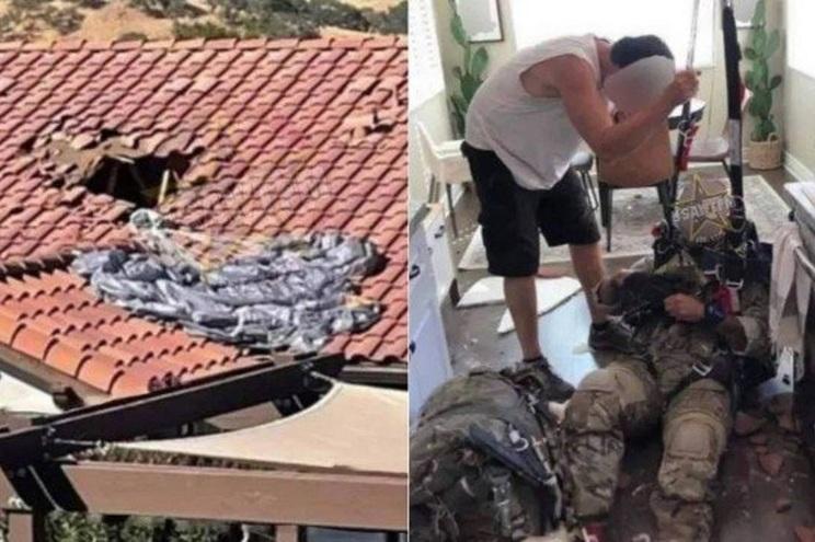 Militar cai em cozinha pelo telhado após falha de paraquedas - milenio stadium - mundo