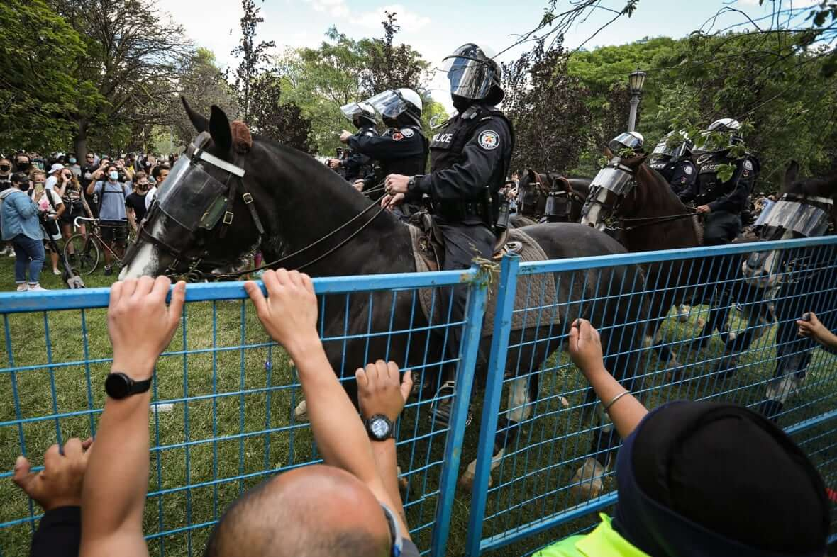 Police officers in Trinity Bellwood Parks-Milenio Stadium-Ontario