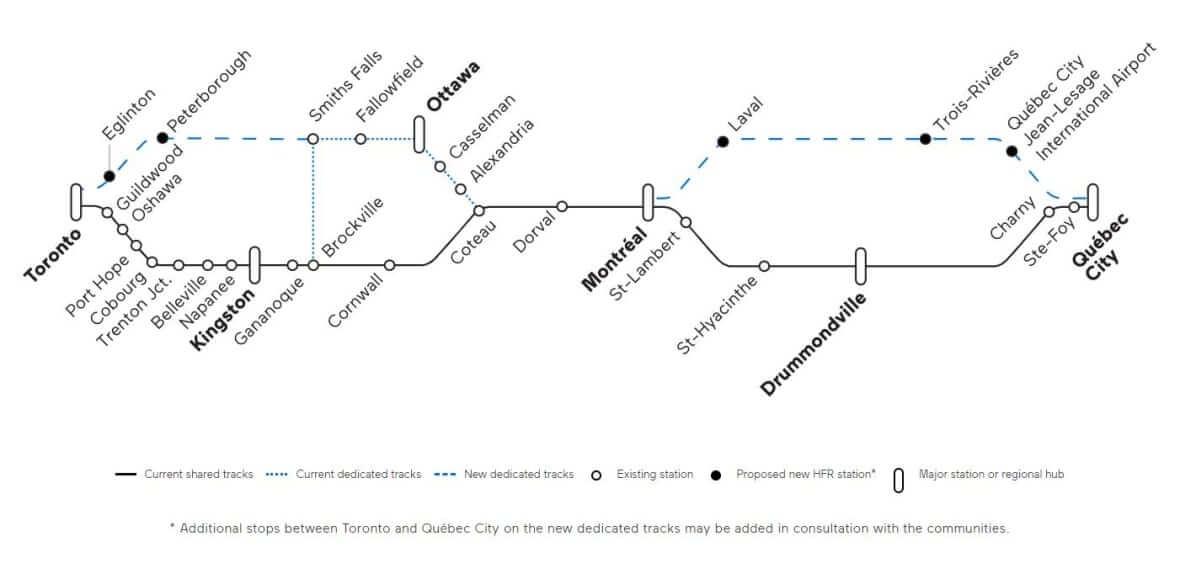 VIA Rail proposed map-Milenio Stadium-Canada