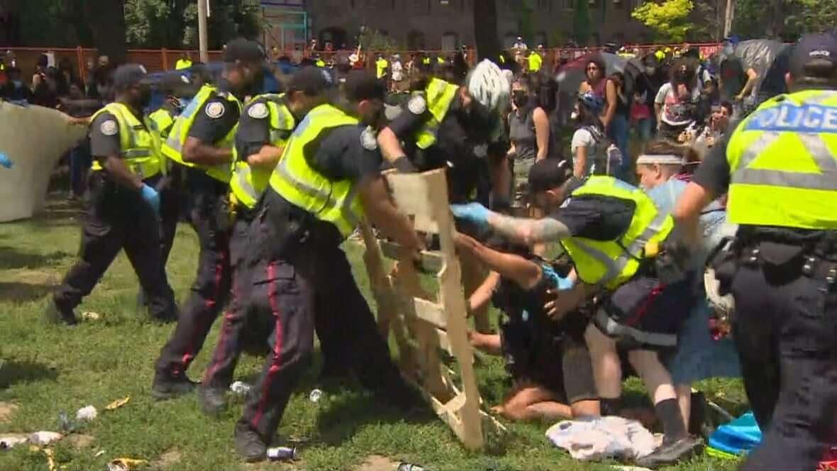 Violent scene at Lamport Stadium Park-Milenio Stadium-Ontario