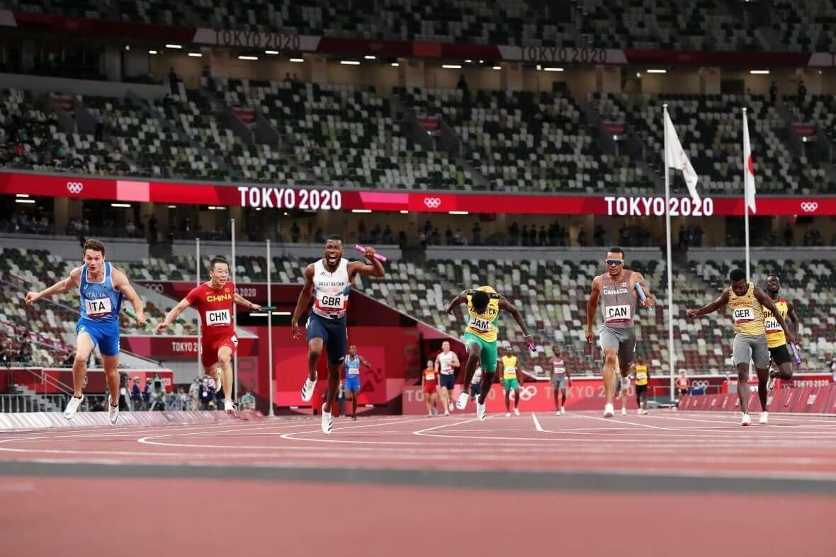 Andre De Grasse, fifth from left-Milenio Stadium-Canada