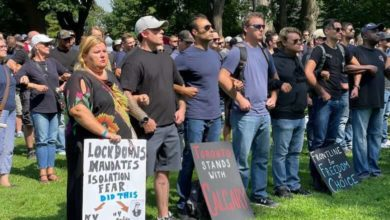 Dozens of protesters in Toronto gather for planned demonstrations outside hospitals-Milenio Stadium-Ontario